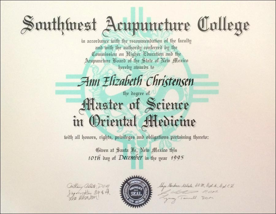 Ann Christensen's MSOM Diploma